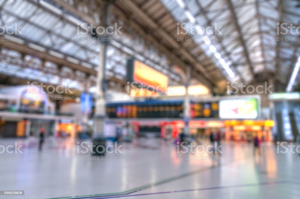 Blurry bokeh background of train station. stock photo