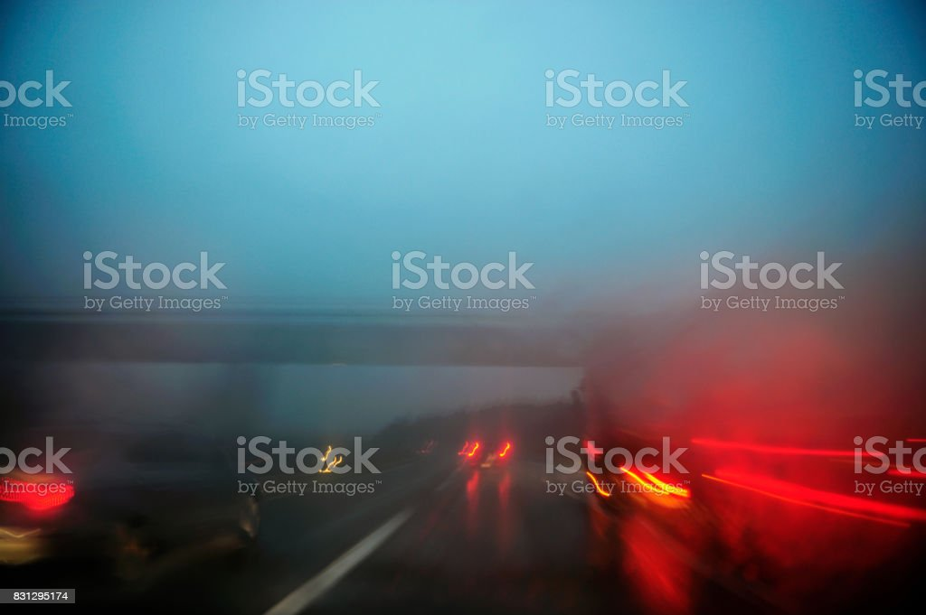 Blurry car lights on a highway stock photo