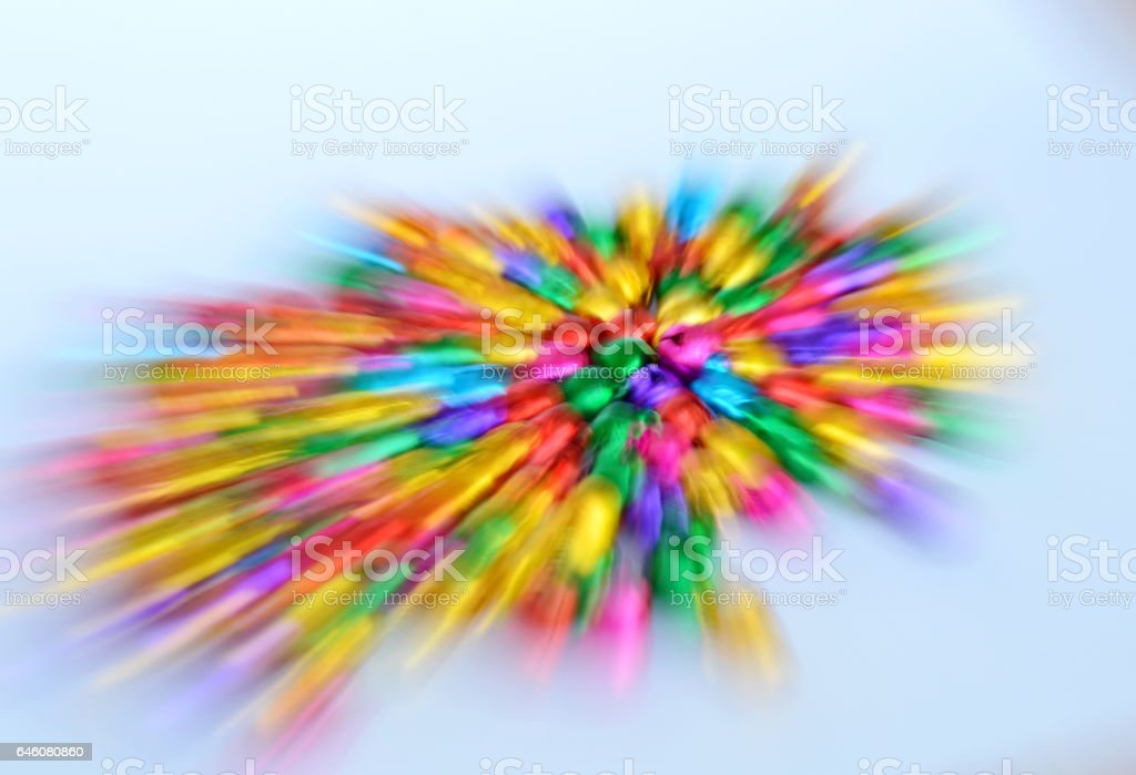 blurry colorful bell spread by zoom technique stock photo