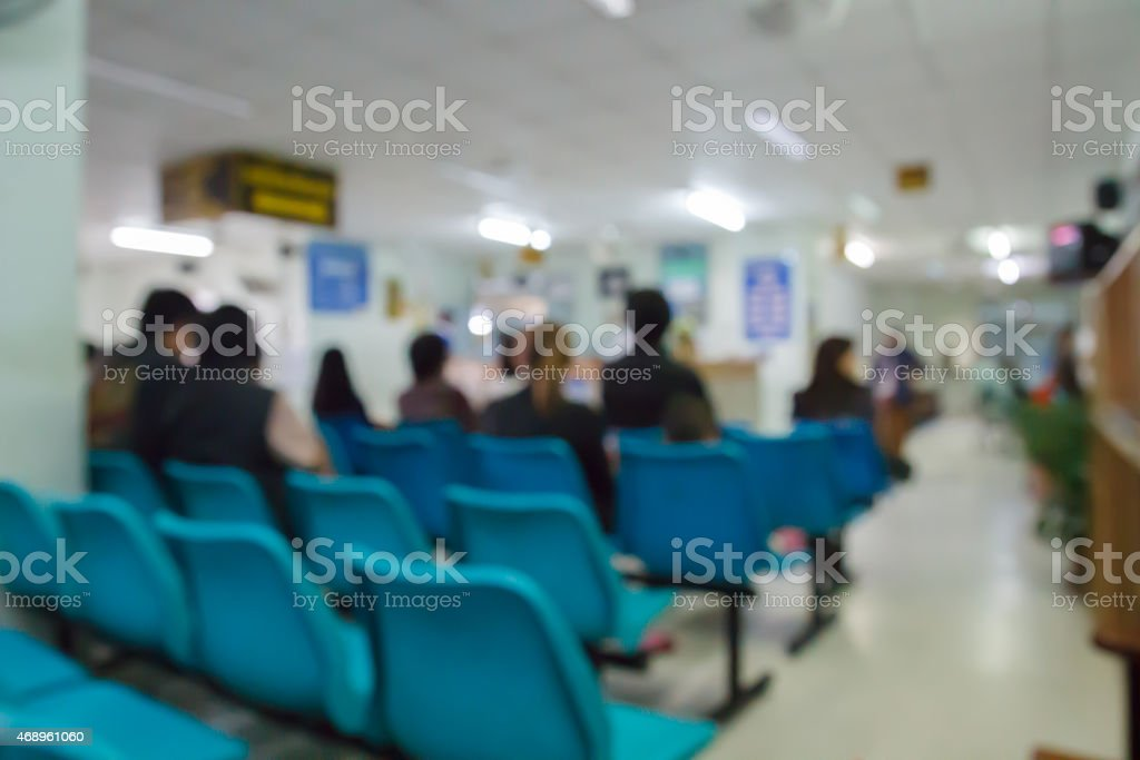 blurry defocused image of patient waiting for doctor in hospital stock photo