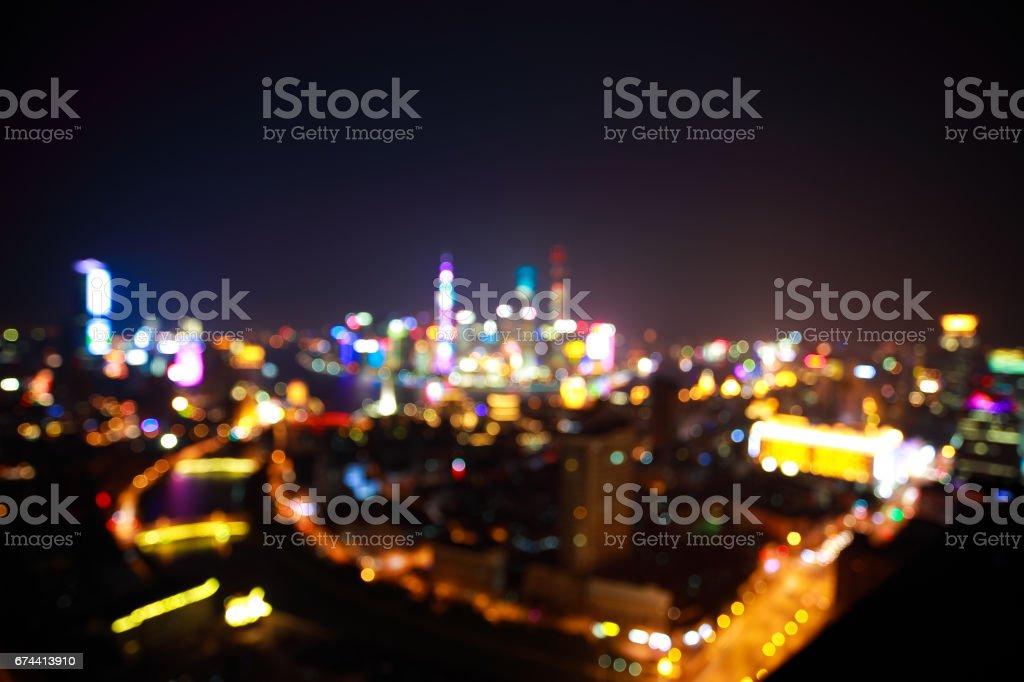 Blurry focus backgrounds at Shanghai bund Skyline of night scene stock photo