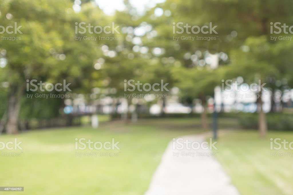 Blurry green garden with blurred walkway. royalty-free stock photo