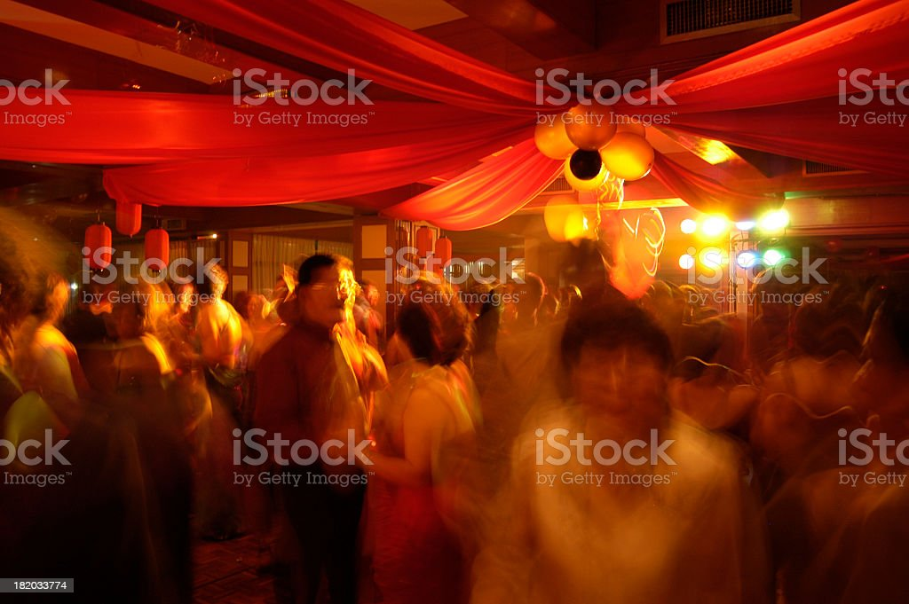 Blurry image of people partying stock photo