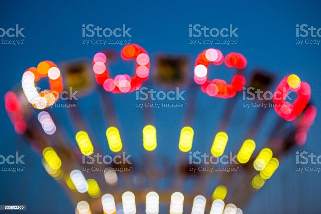 Blurry lights in luna park stock photo