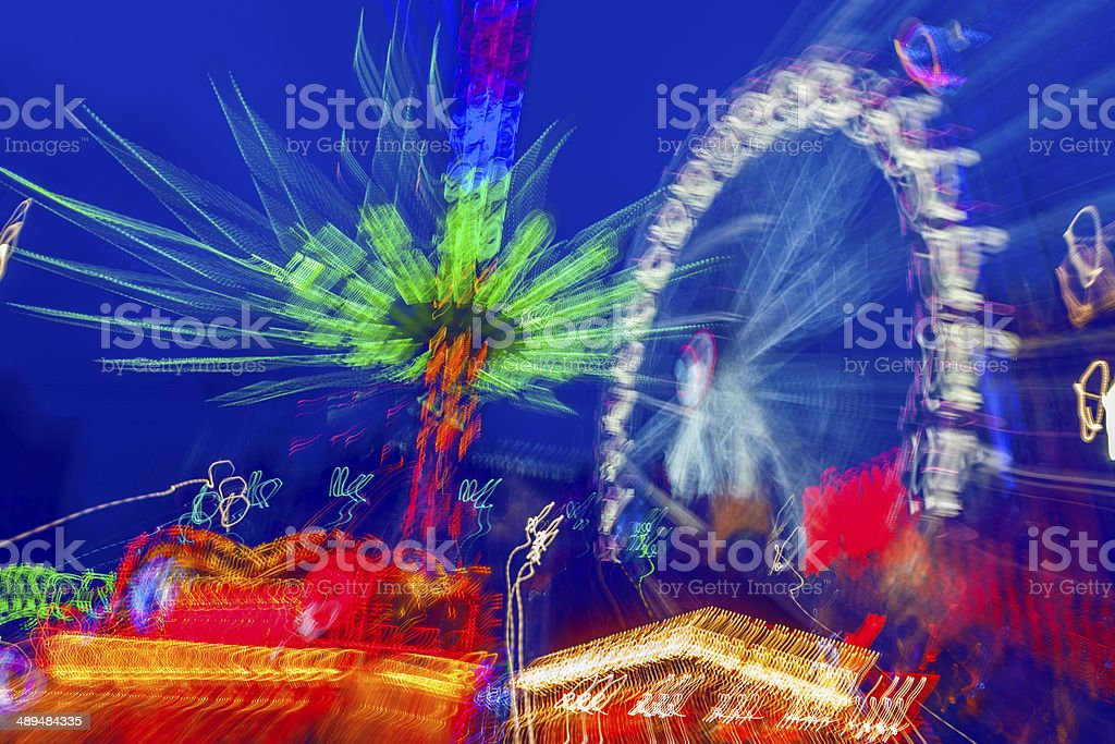 Blurry Night Attractions stock photo
