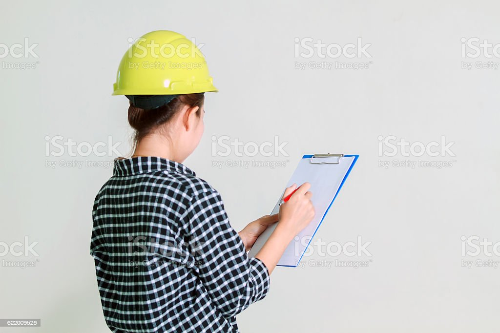 Blurry of Asian women engineers and technicians are checking stock photo