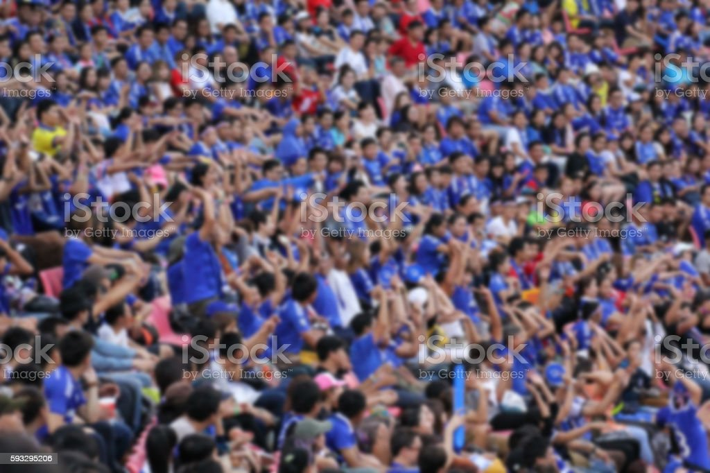 blurry of Soccer fans in a match stock photo