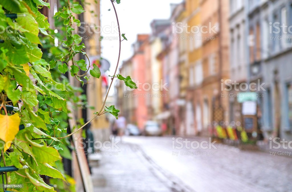 Blurry old street of European city in Summertime stock photo
