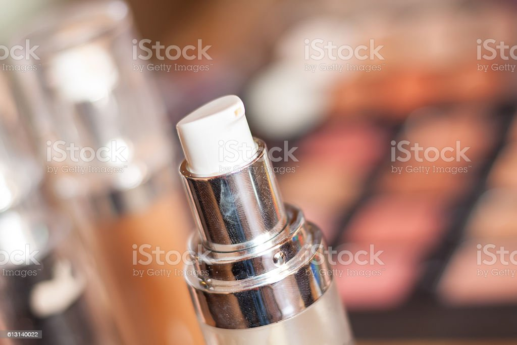 Blurry professional visagiste workspace. stock photo
