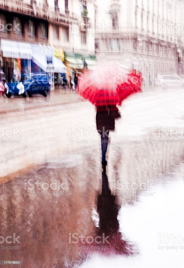 A blurry rainy day in the city stock photo