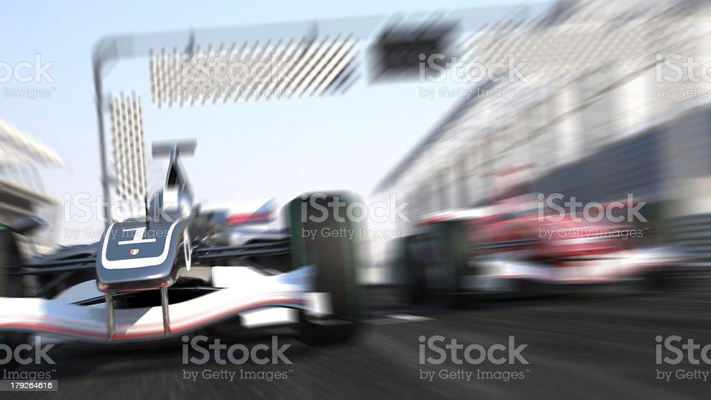 Blurry, speeding formula 1 car race stock photo