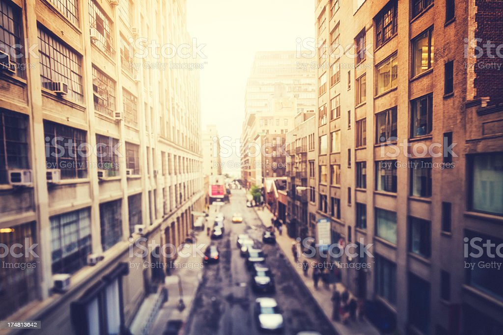 A blurry street in New York City stock photo