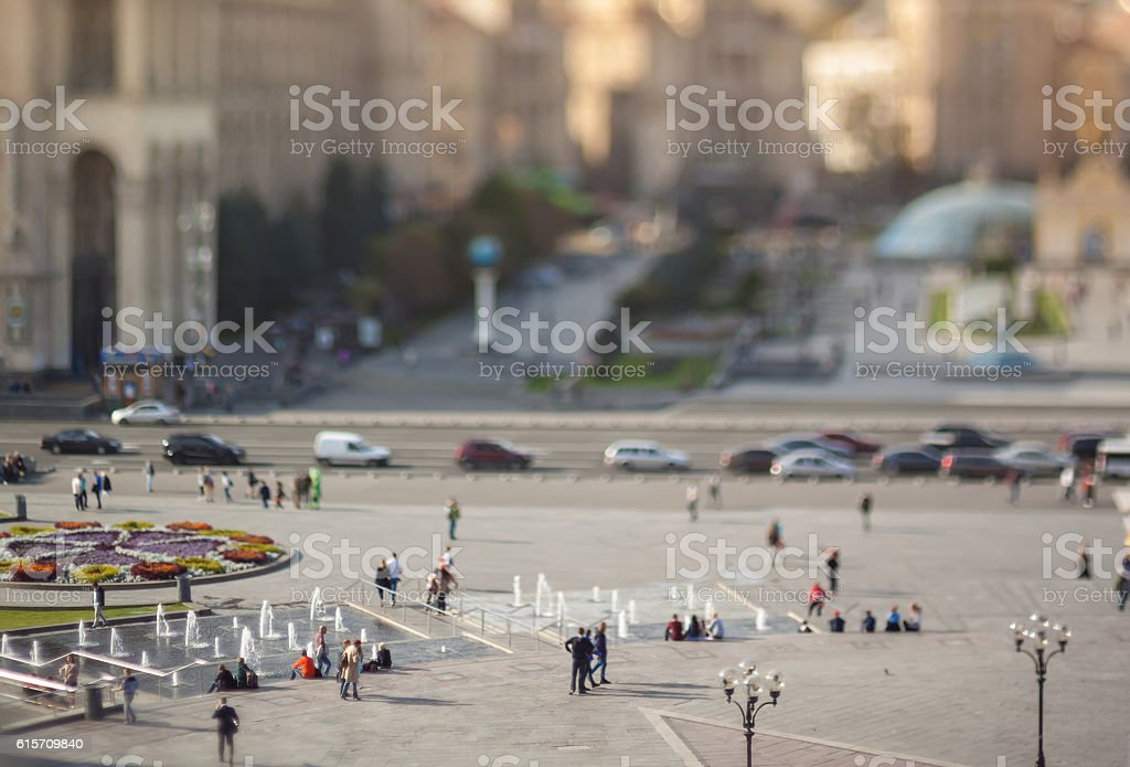 Blurry tilt-shift cityscape. stock photo