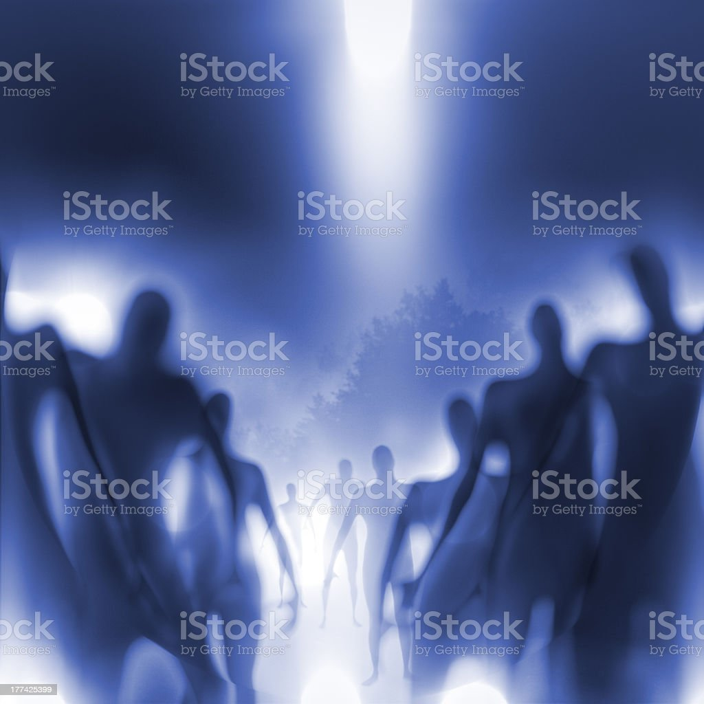 Blurry view of lines of humanoids stock photo
