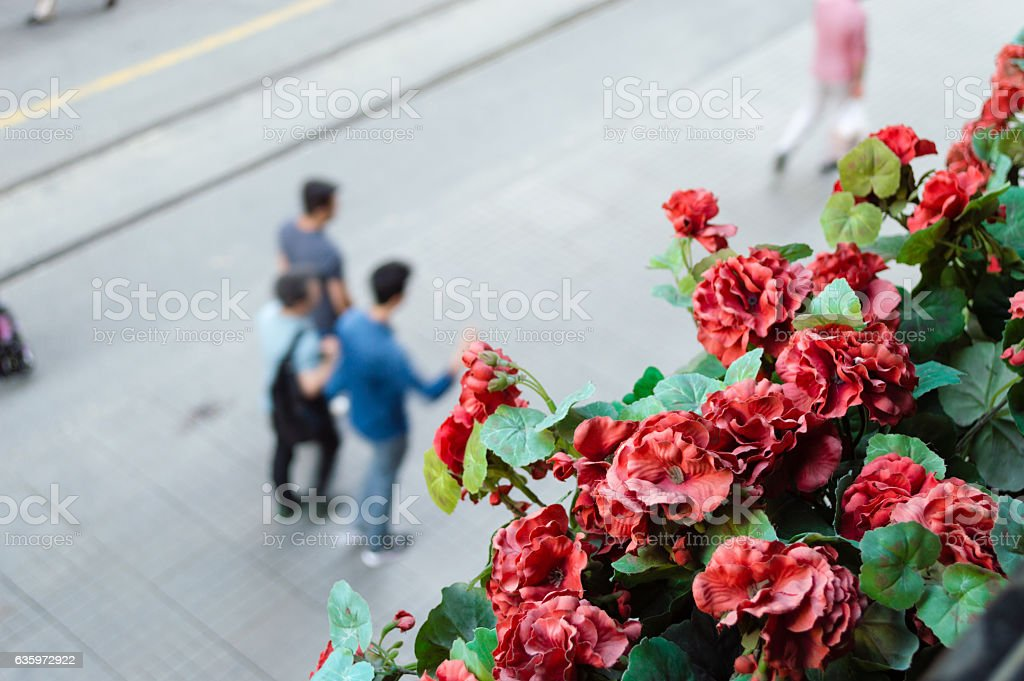Blurry view of walking people in Beyoglu district of Istanbul stock photo