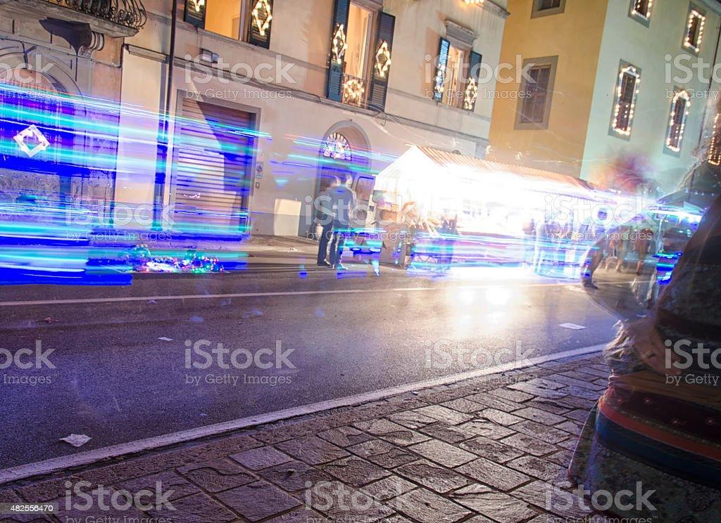 Blurry vision of luminara of Pisa stock photo