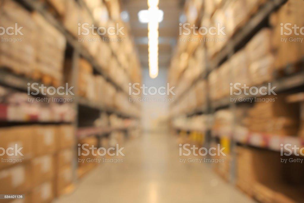 Blurry warehouse stock photo
