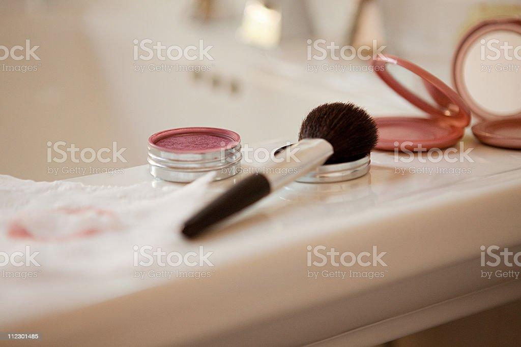 Blusher brush and blusher royalty-free stock photo