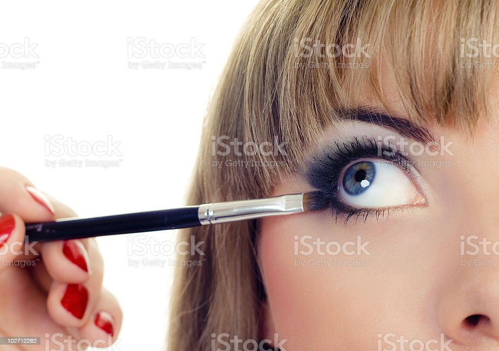 blusher on eye stock photo