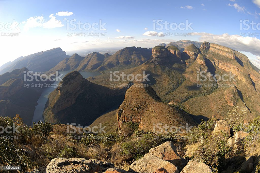 Blyde river canyon with dam and the three rondavels royalty-free stock photo
