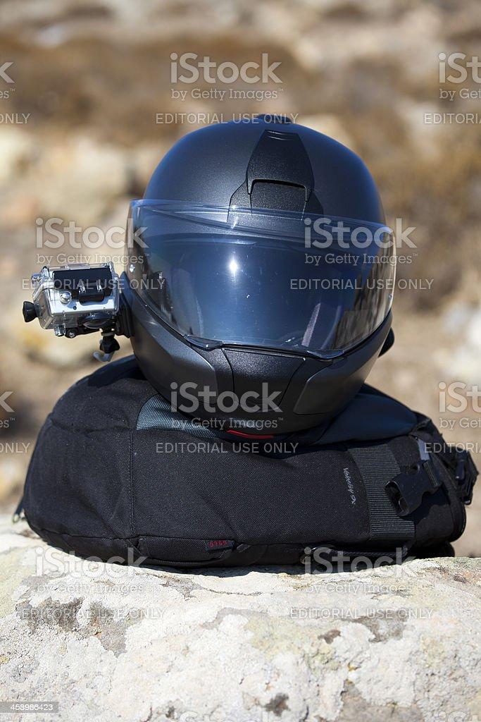 Bmw system6 Helmet with Gopro Hero II Camera stock photo