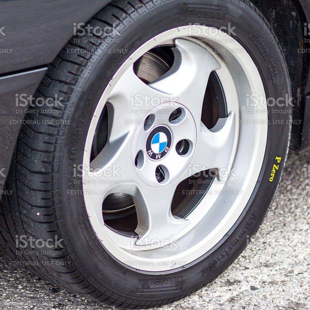 Bmw wheel close up stock photo