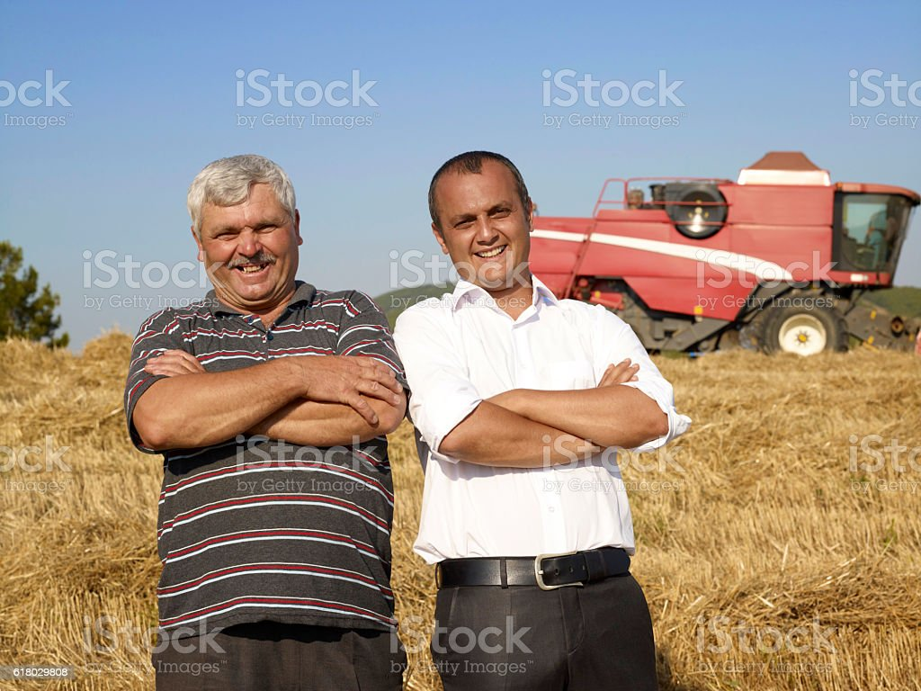 Bnaker and farmer stock photo