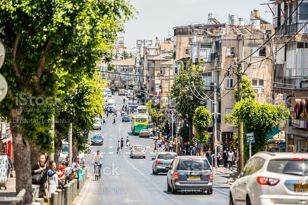 Bnei Brak cityscape with traffic jam and people, Israel stock photo