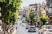 Bnei Brak cityscape with traffic jam and people, Israel