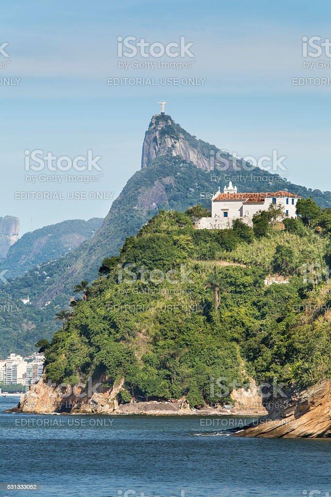 Boa Viagem Church and Christ the Redeemer royalty-free stock photo