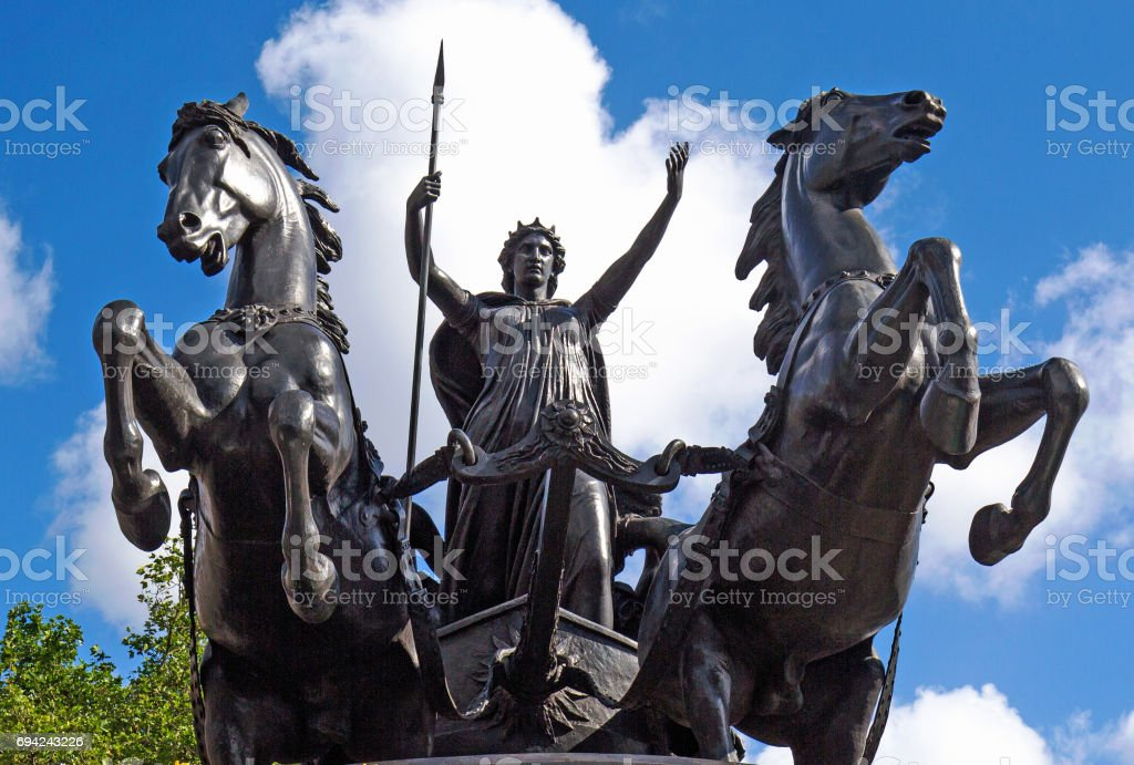 Boadicea and her Daughters monument on the embankment in London stock photo