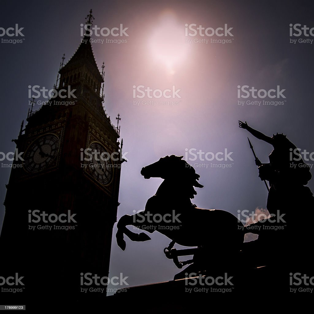 Boadicea At Westminster Bridge, London royalty-free stock photo