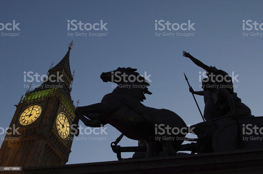 Boadicea Stands Guard Across from Big Ben stock photo