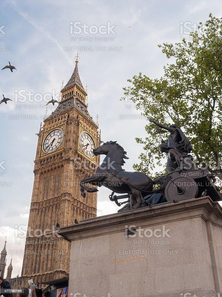 Boadicea Statue and Big Ben, London United Kingdom stock photo