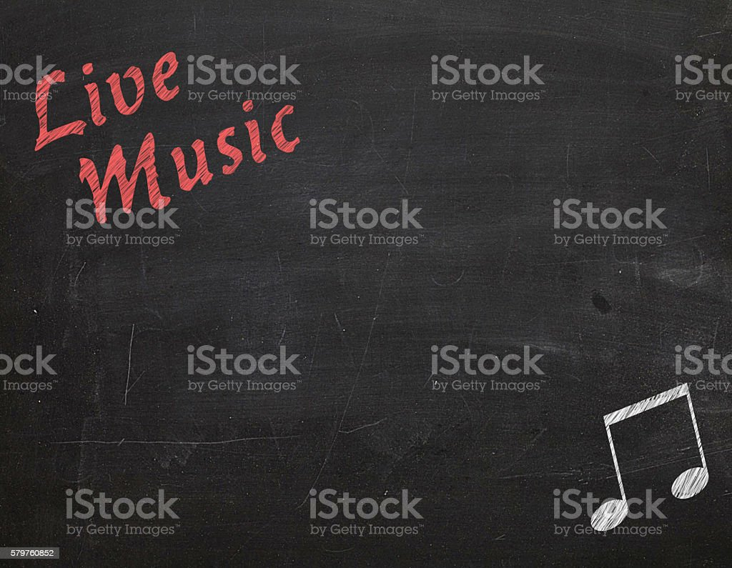 board advertising Live Music stock photo