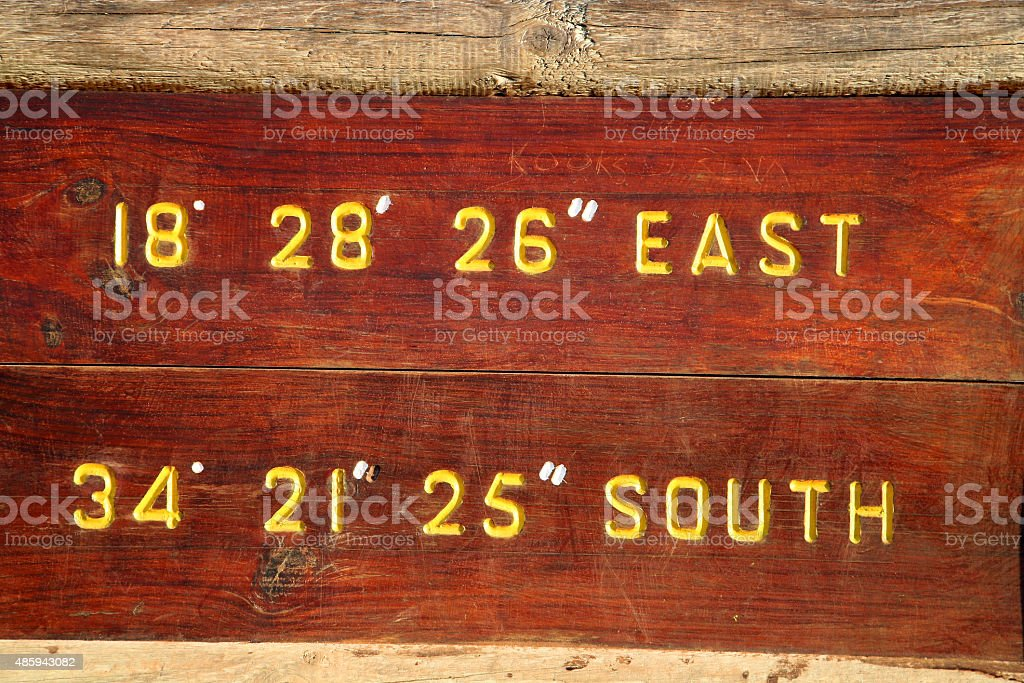 Board at Cape of Good Hope National Park stock photo