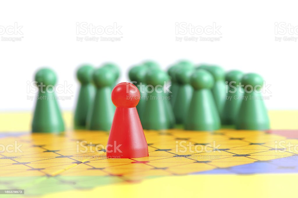 Board game chinese checkers with pawn in conflict situation stock photo