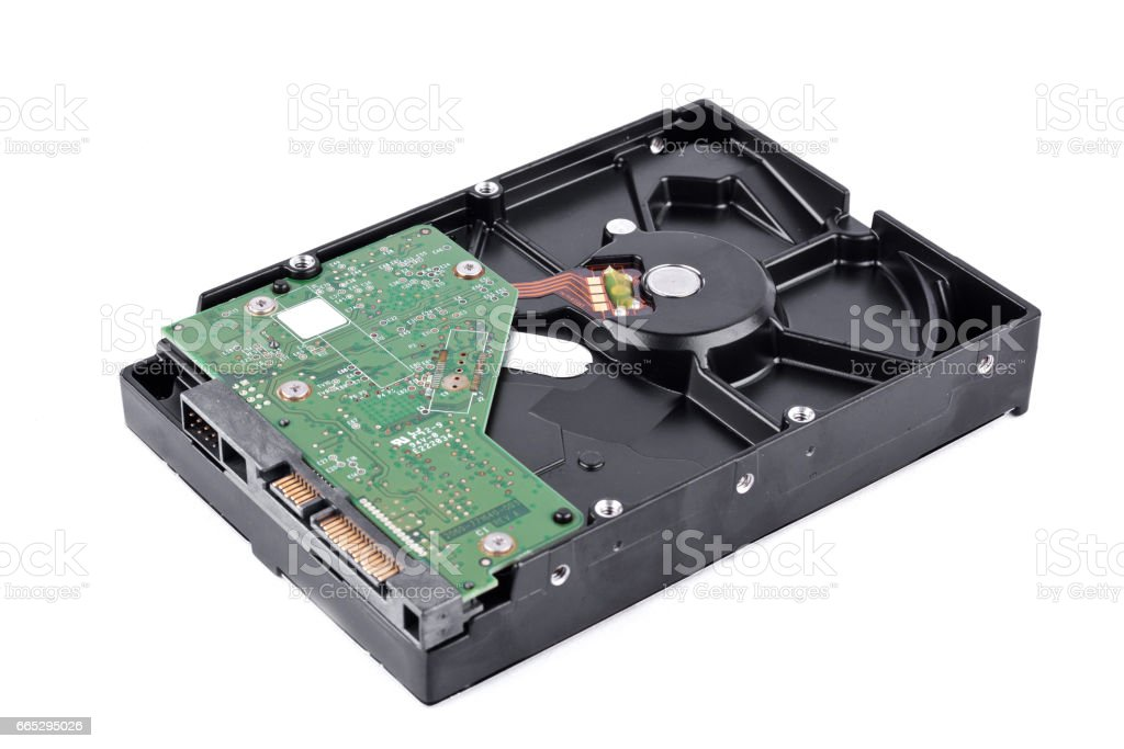 board  harddisk drive is the data storage for the digital data computer on white background  harddisk technology isolated stock photo