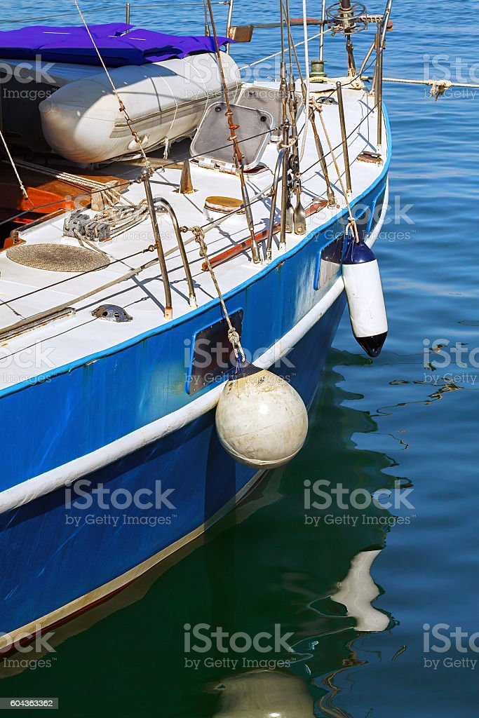 board of the sailing yacht stock photo