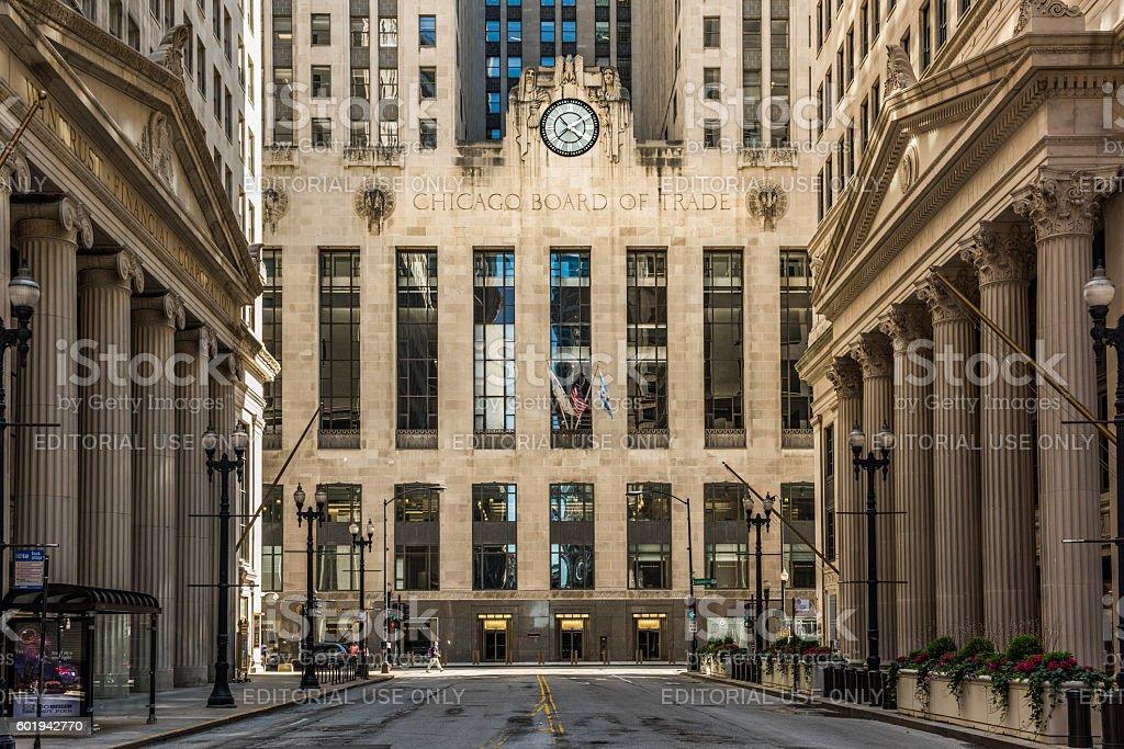 Board of Trade along La Salle street in Illinois stock photo