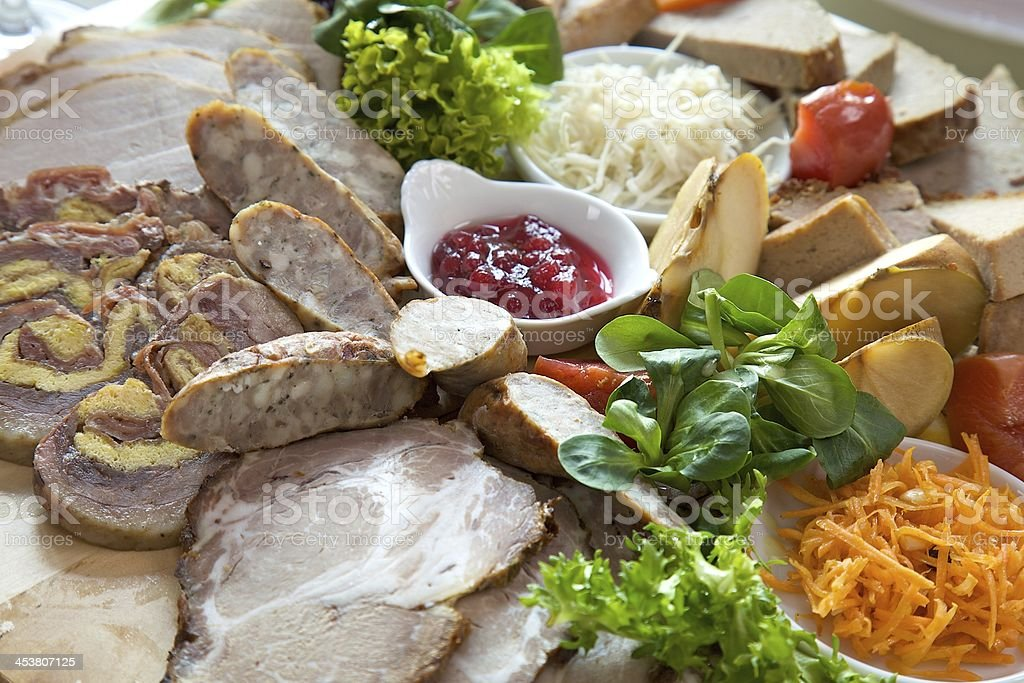 board of traditional sausage royalty-free stock photo
