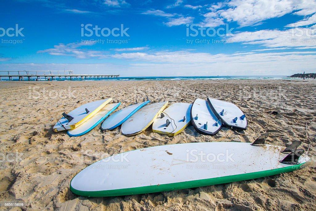 Board on the Beach stock photo