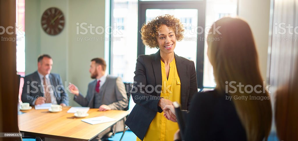 board room interview panel stock photo