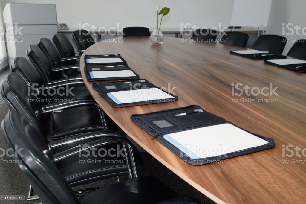 Board room with notebooks stock photo