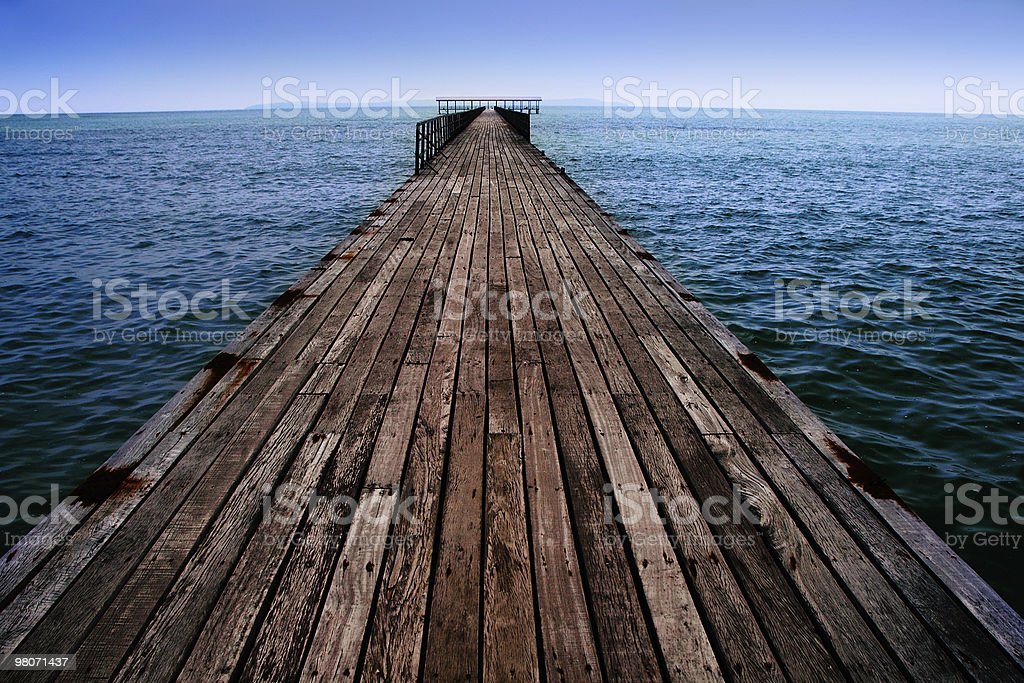 Board Walk Extending Into The Sea stock photo