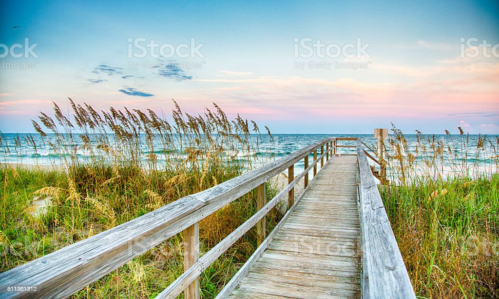 Board Walk on the Beach stock photo