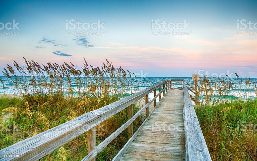 Board Walk on the Beach stock photo
