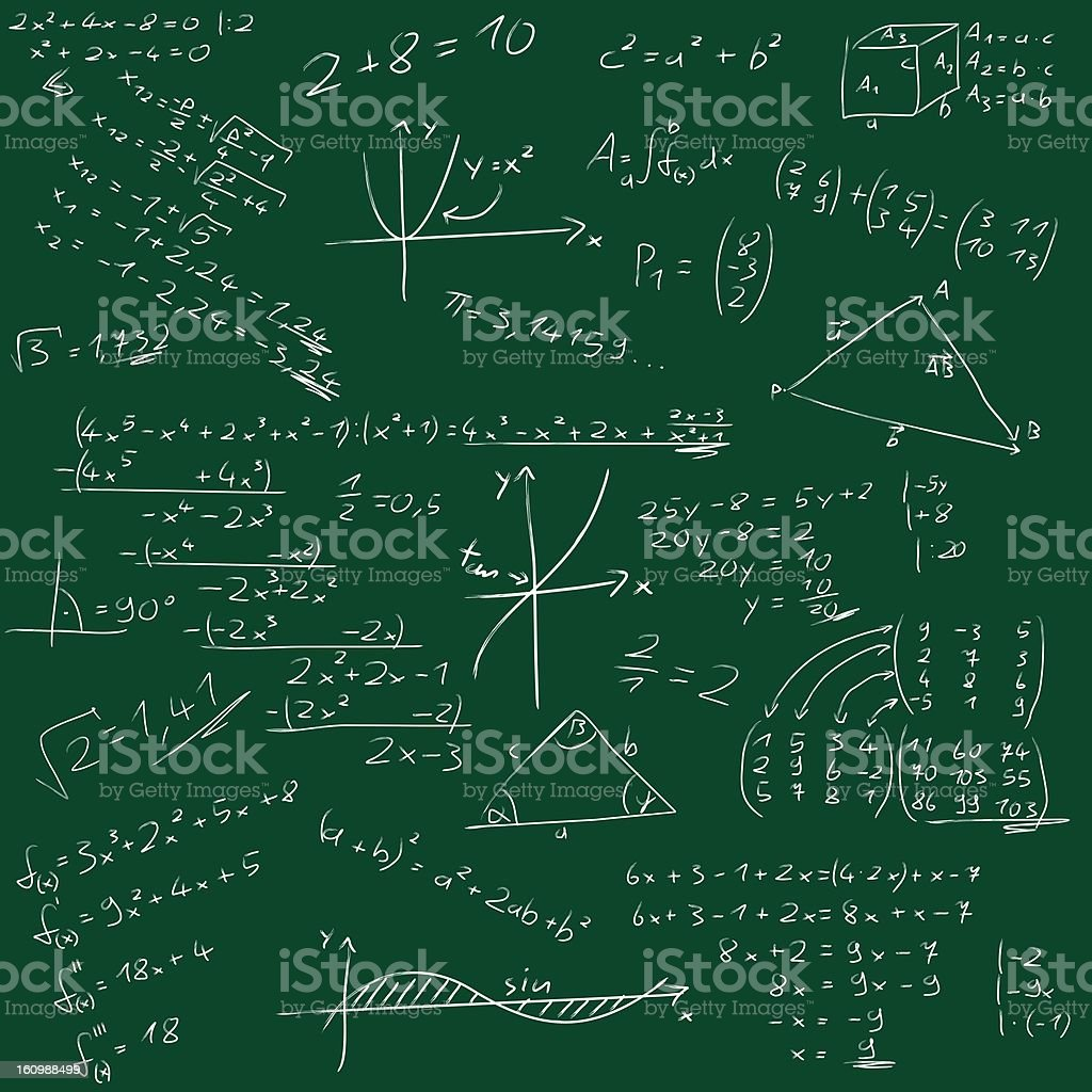 Board with mathematical formulas royalty-free stock photo