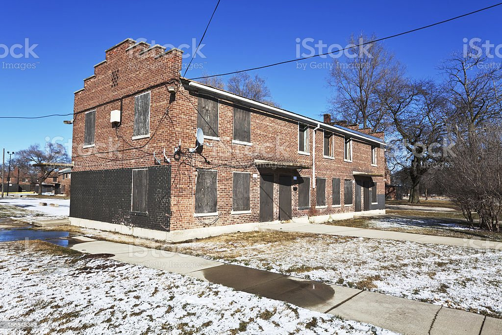Boarded up row houses. Low income housing, Atgeld Gardens, Chica royalty-free stock photo