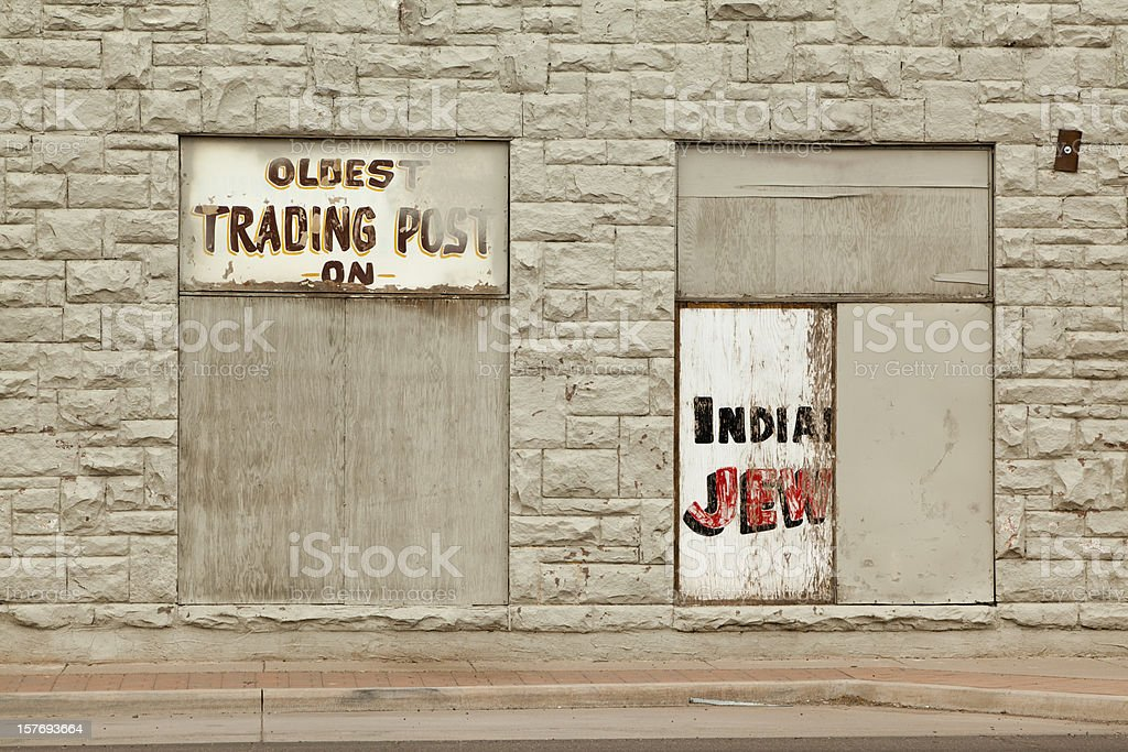 Boarded Up Storefront, Trading Post, Route 66 royalty-free stock photo